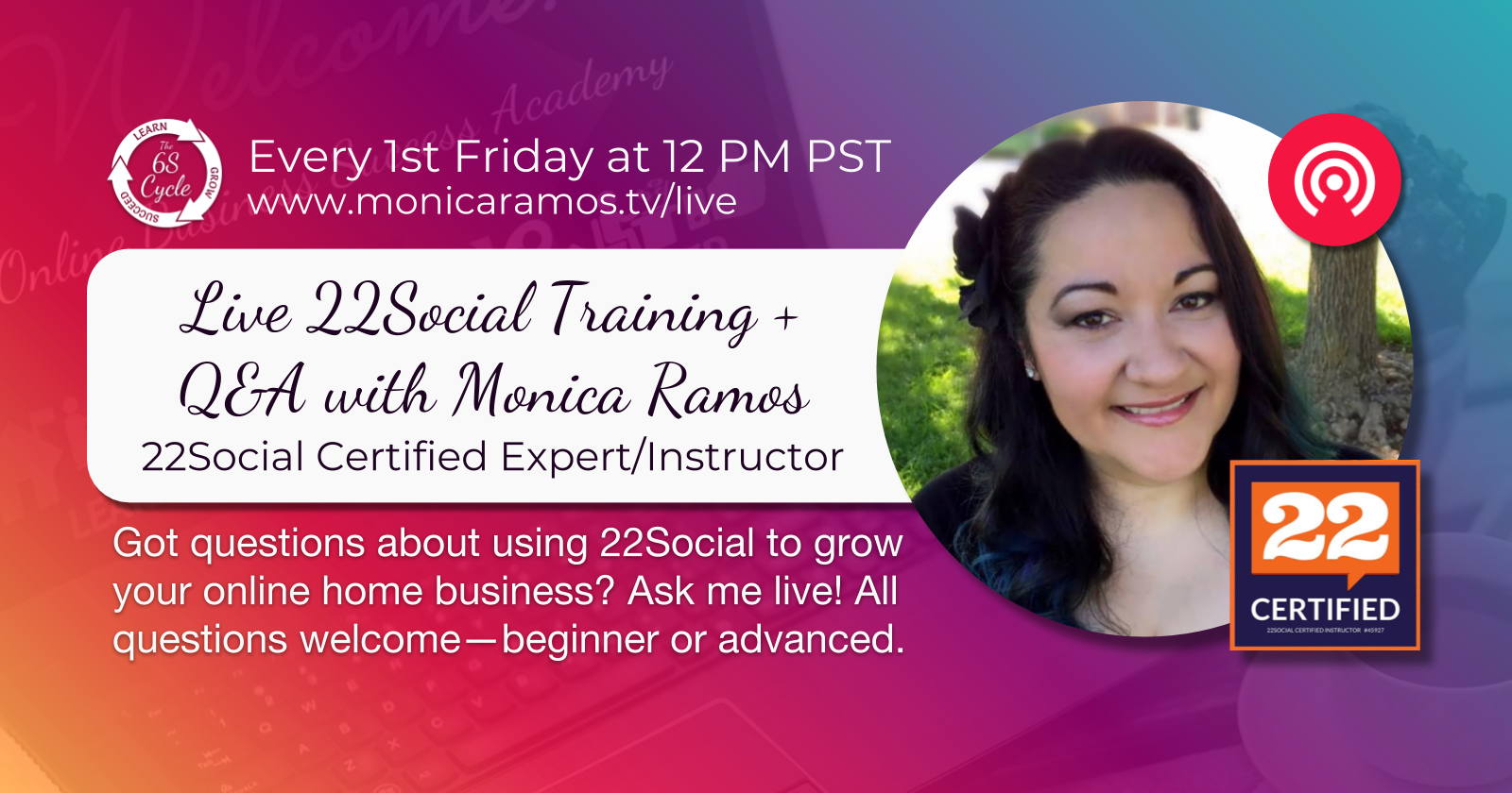 Home | FREE Live Training | Work With Me | OBSA | 22Social